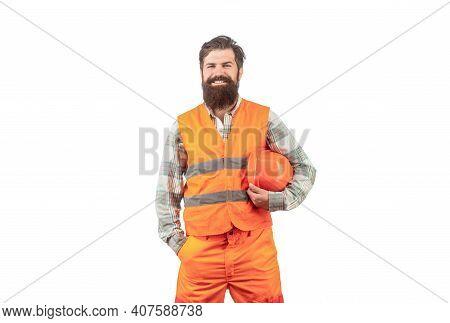 Portrait Of A Builder Smiling. Worker In Construction Uniform. Man Builders, Industry. Builder In Ha