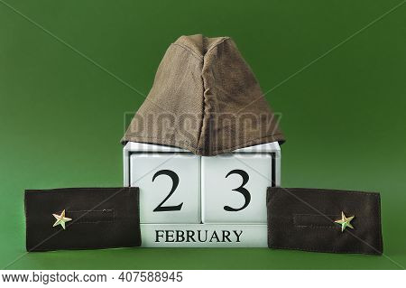 Text - February 23. White Calendar With Date 23 February. Russian Holiday Defender Of The Fatherland