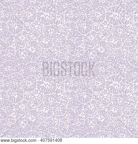 Monotone Purple Allover Easter Floral Repeat Pattern