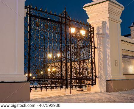 Kazan, Russia - January 07 2021: Kazan Kremlin. Openwork Gates On The Territory Of The Kremlin. Wint