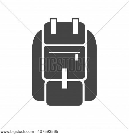 Backpack For Hiking, Camping, Sport Bold Black Silhouette Icon Isolated On White. Knapsack, Schoolba