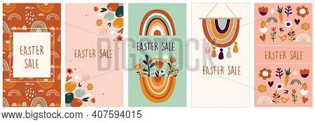 Boho Easter Concept Design, Story Template And Banner Set With Bunnies, Eggs, Flowers And Rainbows I