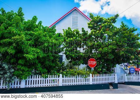 Grand Cayman, Cayman Islands, July 2020, View Of The Side Entrance Of The Cayman Islands National Mu