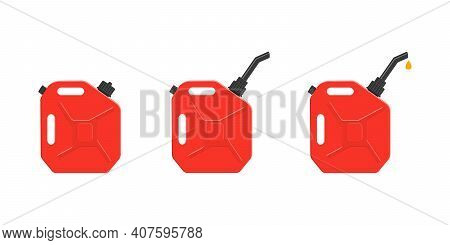 Petrol Canisters With Closing Cap, Spout And Pouring Gasoline Drop. Set Of Gas Cans, Fuel Containers