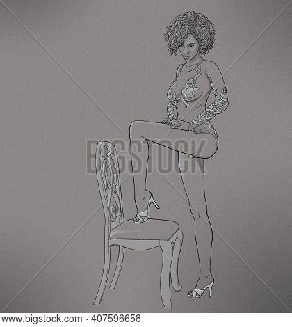 Drawing Of A Beautiful Young Woman Posing With A Chair.