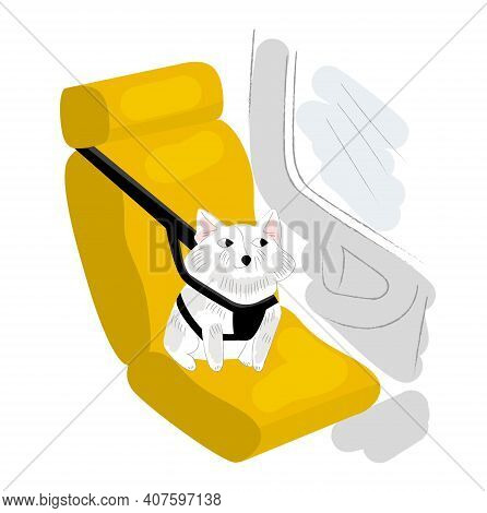 Vector Isometric Illustration Small Dog Sitting In Car Auto Seat, Bag, With Holding Harness. Concept