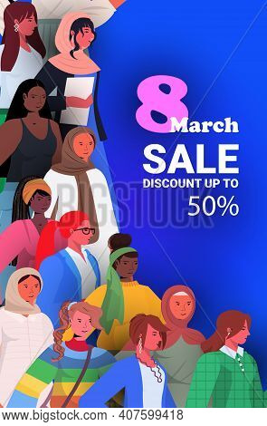 Mix Race Girls Celebrating International Womens Day 8 March Holiday Celebration Concept Sale Banner