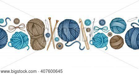 Watercolor Knitting And Crocheting Tools Seamless Pattern. Wooden Knitting Needles, Crochet Hook, Wo