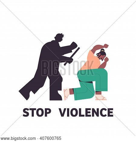 Silhouette Of Angry Husband Punching And Hitting Wife Stop Domestic Violence Aggression Concept Full