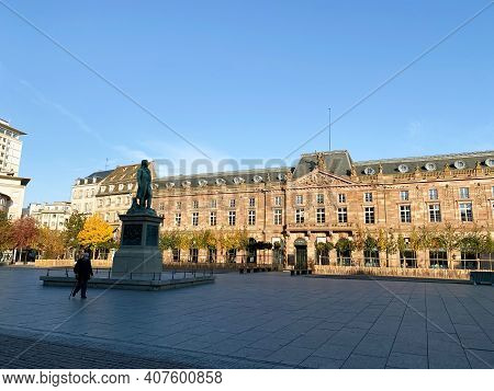 Strasbourg, France - Oct 31, 2020: Iconic Place Kleber In Central Strasbourg During General Lockdown