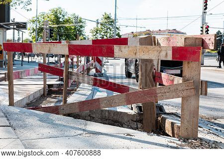 Conducting Road And Construction Works. Fence, Signs And Equipment For Repair And Road Works.
