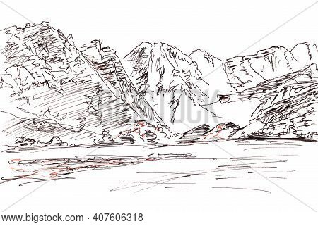Monochrome Black And White Linear Drawing Seascape With Mountains, Travel Sketch