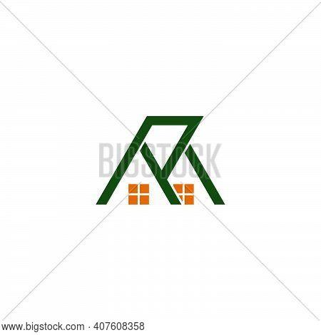 Letter M R Simple Residence House Symbol Logo Vector