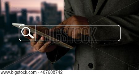 Businessman Using Searching Browsing Internet Internet Of Things Iot Internet In Work Information Co