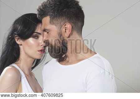 Couple In Tender Passion. Closeup Each Other Of Lovely Pair. True Love. Man With Woman In Relationsh