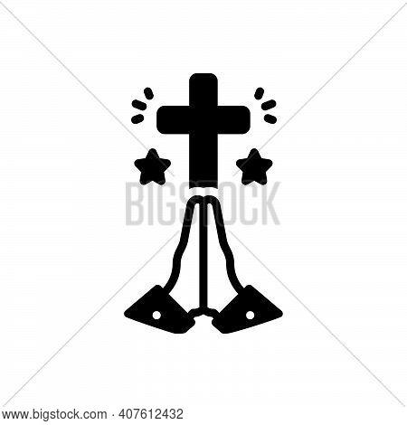 Black Solid Icon For Pray Prayer Worship Religion Faith Christianity