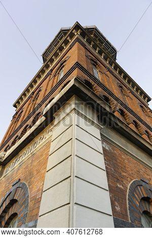 Corner Of Towering Invercargill Water Tower Aesthetic Utility Red Brick Tower.building Built In 1889
