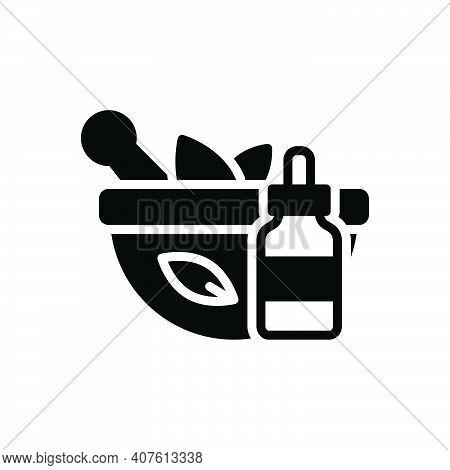 Black Solid Icon For Extraction Medicine Herbal Ayuredic Naturopathy Healthy