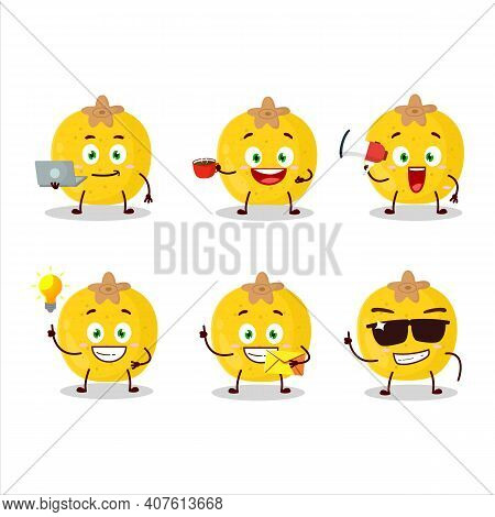 Nance Fruit Cartoon Character With Various Types Of Business Emoticons