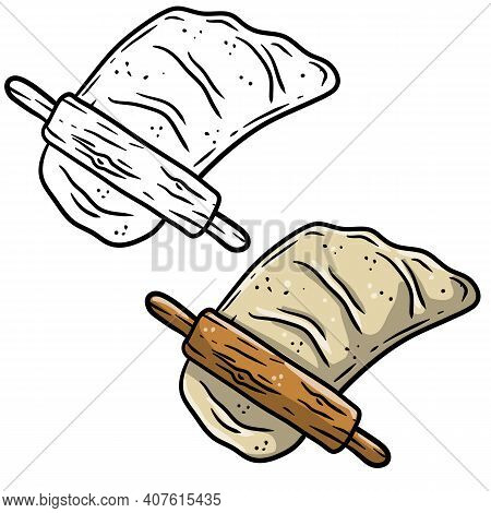 Rolling Pin And Dough. Wooden Appliance For Kitchen And Cooking. Kneading Dough. Cartoon Sketch Dood