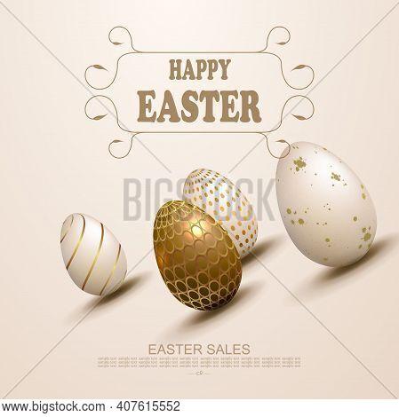 Easter Light Beige Design, Patterned Eggs Drawn Obliquely