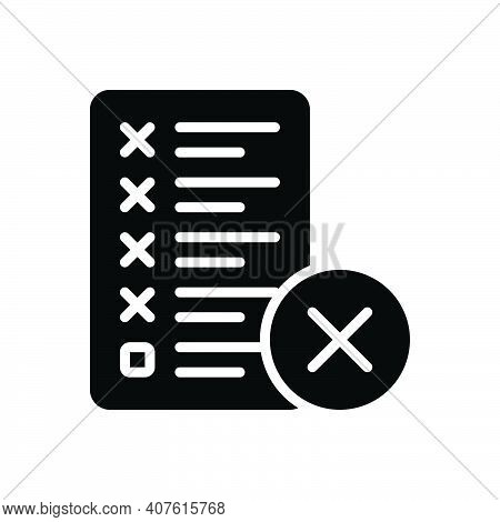 Black Solid Icon For Mistake Error Message Assignment Manuscript Editing