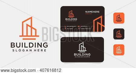 Monogram Inspirational Real Estate Building Logo And Business Card. Logo Can Be Used For Architectur