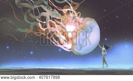 Woman Reached Out To Touch The Fantasy Jellyfish Floating In The Air, Digital Art Style, Illustratio