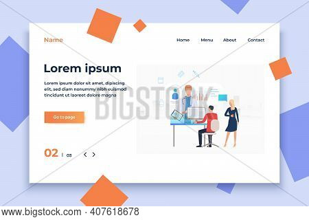 Man And Woman Accessing Medical Website Vector Illustration. Medical Service, Electronic Medical Car