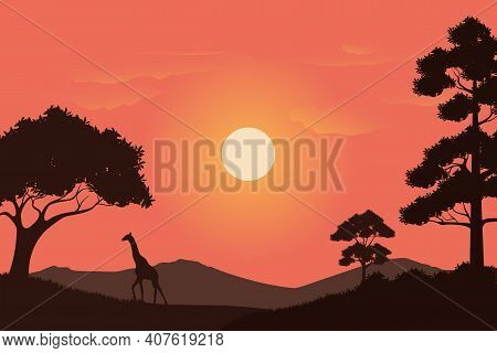 Vector Illustration Of Grassland Scenery At Sunset In Africa. Background Design Concept Of The Wild
