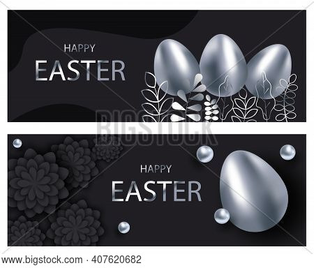 Happy easter template set with silver eggs, black background. Happy Easter, easter bunny, easter background, easter banners, easter flyer, easter design,easter