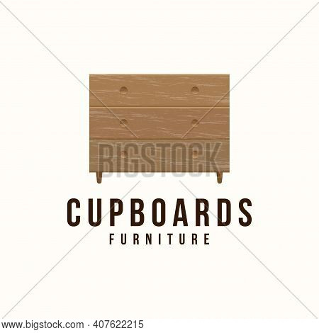Cupboard Logo Vector Design, Vintage Illustration, Minimalist Furniture, Wooden Interior Concept
