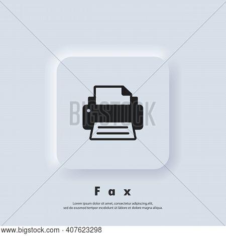 Printer Icon. Fax Icon. Fax Logo. Vector. Ui Icon. Neumorphic Ui Ux White User Interface Web Button.