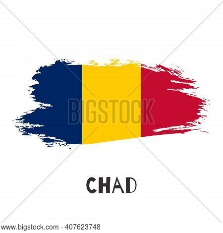 Chad Vector Watercolor National Country Flag Icon. Hand Drawn Illustration With Dry Brush Stains, St