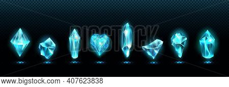 Precious Emerald Stones, Shiny Blue Glass Crystals Isolated On Transparent Background. Vector Realis