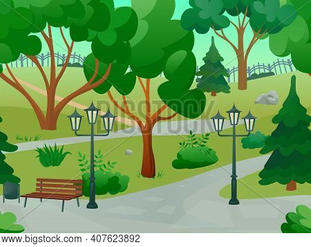 Park 2d Game Landscape With Trees Streetlights And Bench Flat Vector Illustration