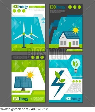 Eco Energy Solar Panel And Windmills Ecological  Rechargeable Electricity Generation Systems 4 Icons