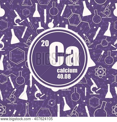 Calcium Chemical Element. Sign With Atomic Number And Atomic Weight. Chemical Element Of Periodic Ta