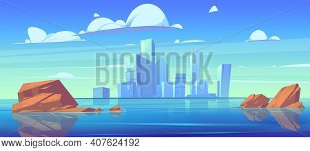City Skyline With Buildings Silhouettes And Reflection In Water Of River Or Lake. Vector Cartoon Lan