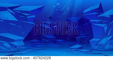 Ocean Or Sea Underwater Background. Empty Bottom With Rocks, Fish Silhouettes And Air Bubbles Floati