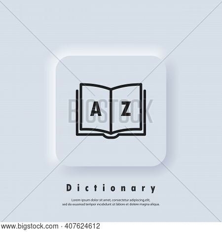 Dictionary Icon. Glossary. Badge With Book. Dictionary Logo. Library Icon. Vector Eps 10. Ui Icon. N