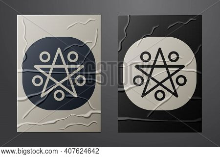 White Pentagram In A Circle Icon Isolated On Crumpled Paper Background. Magic Occult Star Symbol. Pa
