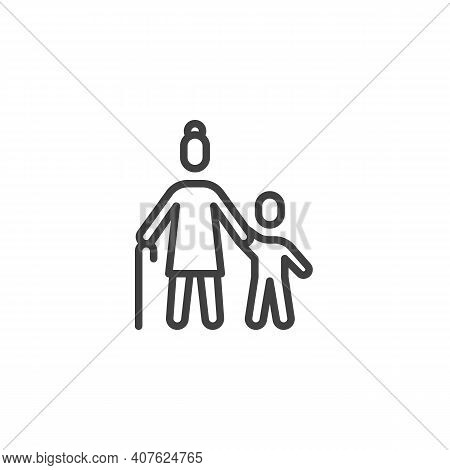 Grandmother With Grandson Line Icon. Linear Style Sign For Mobile Concept And Web Design. Grandma An