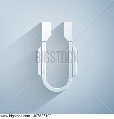 Paper Cut Meat Tongs Icon Isolated On Grey Background. Bbq Tongs Sign. Barbecue And Grill Tool. Pape
