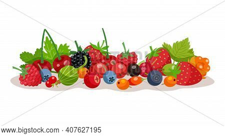 Composition From Forest And Garden Berries With Strawberry Bilberry Raspberry Cloudberry Gooseberry