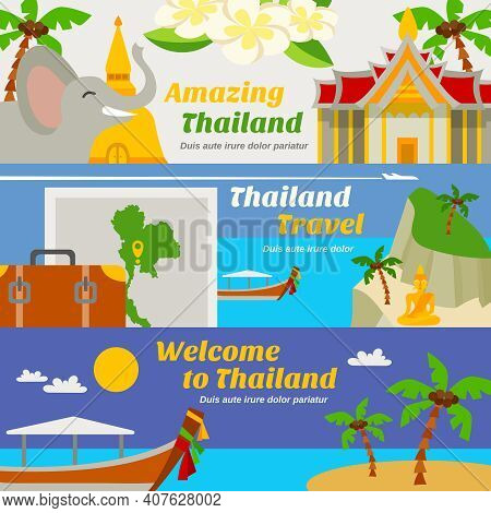 Thailand Travel Horizontal Banners Set With Sights Beach Resorts And Map Flat Isolated Vector Illust