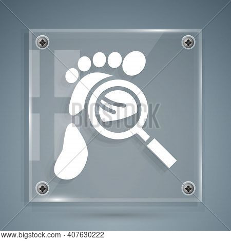 White Magnifying Glass With Footsteps Icon Isolated On Grey Background. Detective Is Investigating.