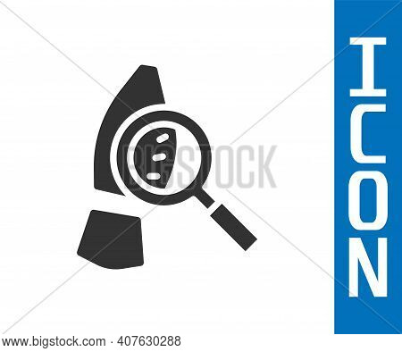 Grey Magnifying Glass With Footsteps Icon Isolated On White Background. Detective Is Investigating.