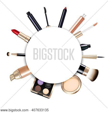 Realistic Round Makeup Frame With Lipstick Powder Foundation Brushes Gloss Liner Eyeshadows And Masc