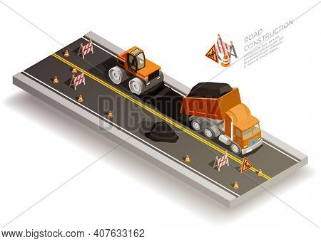 Road Construction Pit Collapse Repairs Isometric Composition With Traffic Cones Signs And Road Machi